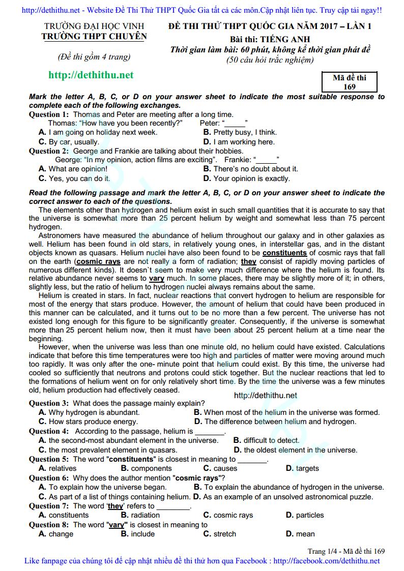 Đề thi thử môn Anh 2017 THPT Chuyên ĐH Vinh lần 1 có đáp án